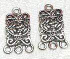 1 Pair Rectangular Drop Fine Pewter Pendant Earring Connectors 1 To 3 12x20x2mm