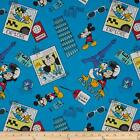 Disney Mickey Mouse Say Cheese Selfie Blue Fabric Premium Cotton