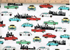 Road To Happiness Fabric Classic Cars On White 3971-18 Premium Cotton