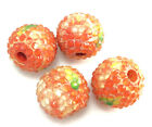 Flower Blossom Garden Wooden Resin Acrylic Large Pave Ball 20mm Mixed Colors Q4