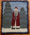 Santa In The Forest Primitive Rug Hooking Kit With Cut Wool Strips