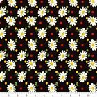 Bubble Pop Fabric 21761-21 Daisies On Black 1930s Retro By American Jane