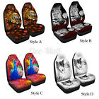 2pcset 3d Peacock Print Front Truck Car Seat Cover Universal Car Seat Protector