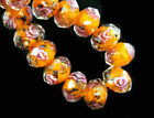 10pcs Charms Rondelle Glass Rose Flower Lampwork Glass Beads 8 10 12mm G