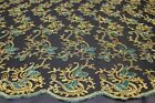 Beautiful Embroidery Fabric On Black Mesh Background Fancy Lace Fabric 9 Color