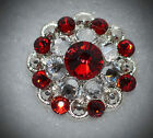 Crystal Berry Concho Handcrafted With Red And Clear Swarovski Elements