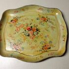 VTG COUNTRY FRENCH ART DECO HP PAPER MACHE TOLE TRAY SHABBY COTTAGE YELLOW