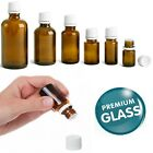 Essential Oil Amber Glass Dropper Bottles Empty Euro White Cap Refillable