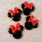 36mm 6 Pieces Large Minnie Mouse With Rhinestone Bow Flatback Resin Cabochon C26