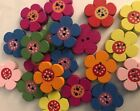 Lot Of 10 2- Hole Wood Buttons Hair Bow Center Colorful Flowers Bee Frogs Fish
