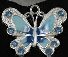 5pcs Silver Plated Enamel Rhinestone Crystal Butterfly Charm Pendant Necklace