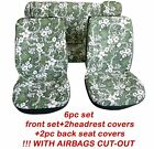 Complete Set Car Seat Covers Hawaii Front Headrest And 2 Pc Rear Bench Green