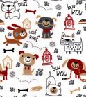Cotton Flannel Fabric - Playful Pups On Bright White Puppy Paws Dog Flannel