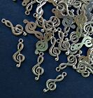 Bulk Set Of 100 - Treble Clef Charms Pendants - 1 Inch Tall - Silver Or Bronze