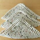 New Set Of 3 -hand Knit - Dishcloths Washcloths 100 Cotton With Directions Fs