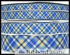 3 Yds 38 Or 58 Or 78 Or 1.5 Bright Blue Yellow Plaid Grosgrain Ribbon