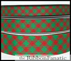 3 Yds 58 Or 78 Or 1.5 Red Green Christmas Check Plaid Grosgrain Ribbon