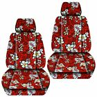 Front Set Car Seat Covers Fits 2007-2019 Honda Fit Hawaill Red Flower