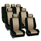 3 Row Car Seat Covers Airbag Compatible Neoprene Edgy Piping Style 7 Seaters