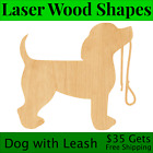 Dog With Leash Laser Cut Out Wood Shape Craft Supply - Woodcraft Cutout