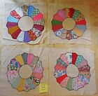 Dresden Plate Quilt Squares Lot Of 4 Hand Stitched Vintage