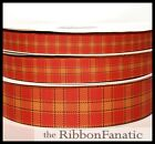 3 Yds 58 Or 78 Or 1.5 Orange Gold Brown Autumn Plaid  Grosgrain Ribbon