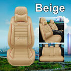 5 Seats Universal Car Seat Covers Deluxe Pu Leather Front Rear Cushion Full Set
