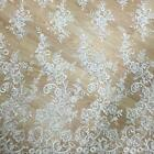 47.2 Wide Off White Embroidery Tulle Lace Fabric Wedding Bridal Dress Gown Veil