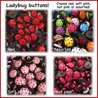 15 Or 30 Ladybug Buttons 15mm Red Pink Random Mix Plastic Hot Pink Ladybugs