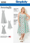 Simplicity 8096 Paper Sewing Pattern Amazing Fit Retro Style Dress Plus 18w-32w