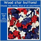 Wood Star Buttons 13mm Wooden Star Buttons Sewing Scrapbook Red White Blue Stars