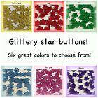 Glitter Star Buttons 14mm Sewing Red Blue Green Yellow Pink Purple Sparkle