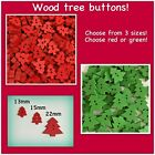 Tree Buttons Wooden Christmas Tree Small Large 13mm 22mm Red Green Assorted Mix