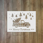 Merry Christmas Text With Trees And Truck - Christmas Winter Reusable Plastic