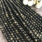 4mm 6mm 8mm 10mm 12mm Natural Gold Obsidian Gemstones Round Loose Beads 15 Aaa