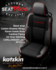 Katzkin Leather Seat Covers 2015-2020 Dodge Challenger Black Suede Cardinal Logo