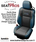 Katzkin Leather Seat Covers 2015-20 Dodge Charger Pacific Blue Black Suede Logo