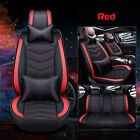 Pu Leather Car Seat Cover Front Rear Cushion Full Set Pillow Universal 5 Seats