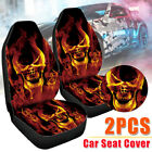 Universal Car Front Seat Cover Cool Skull Fire Cushion Truck Protector Fabric