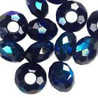 Big 14mm European Faceted Glass Round Rondelle Beads With Large 5mm Hole