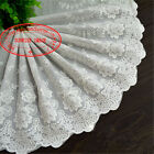 1yard 22cm Delicate Embroidered Flower Cotton Lace Trim Sewing Diy Crafts Fl171