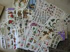 Vtg Lot Gifted Line Stickers Christmas Holly Santa Angels Trains Stamps Ornament