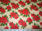 Discount Fabric Quilting Cotton Christmas Poinsettias With Gold Scroll T19