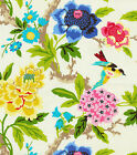 Fabric Waverly Upholstery Drapery Candid Moments Gardenia Floral Birds Kk36