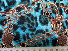 Discount Fabric Printed Lycra Spandex Stretch Big Cat Chains Black