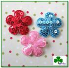 60 Pc X 1 Mix Padded Shiny Sequined Felt Spring Flower Appliques For Bows St506