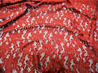 Discount Fabric Stretch Mesh Lace Rust Red Floral Sheer Metallic Sheen A203