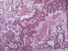 Pastoral Country Castle Goat People Fabric By The Yard Dusty Blue Or Dusty Rose