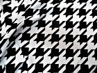 Fabric Printed Liverpool Textured 4 Way Stretch Xl Houndstooth Black White J200