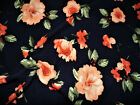 Printed Liverpool Textured Fabric 4 Way Stretch Orange Green Navy Floral K204